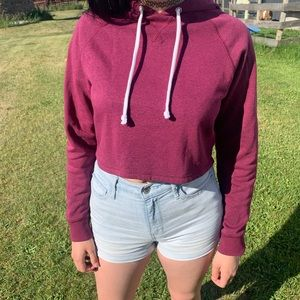 Cropped maroon sweatshirt